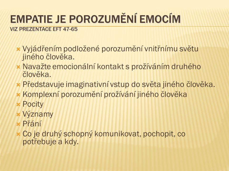 EMPATIE JE POROZUMĚNÍ EMOCÍM VIZ PREZENTACE EFT 47-65  Vyjádřením podložené porozumění vnitřnímu světu jiného člověka.