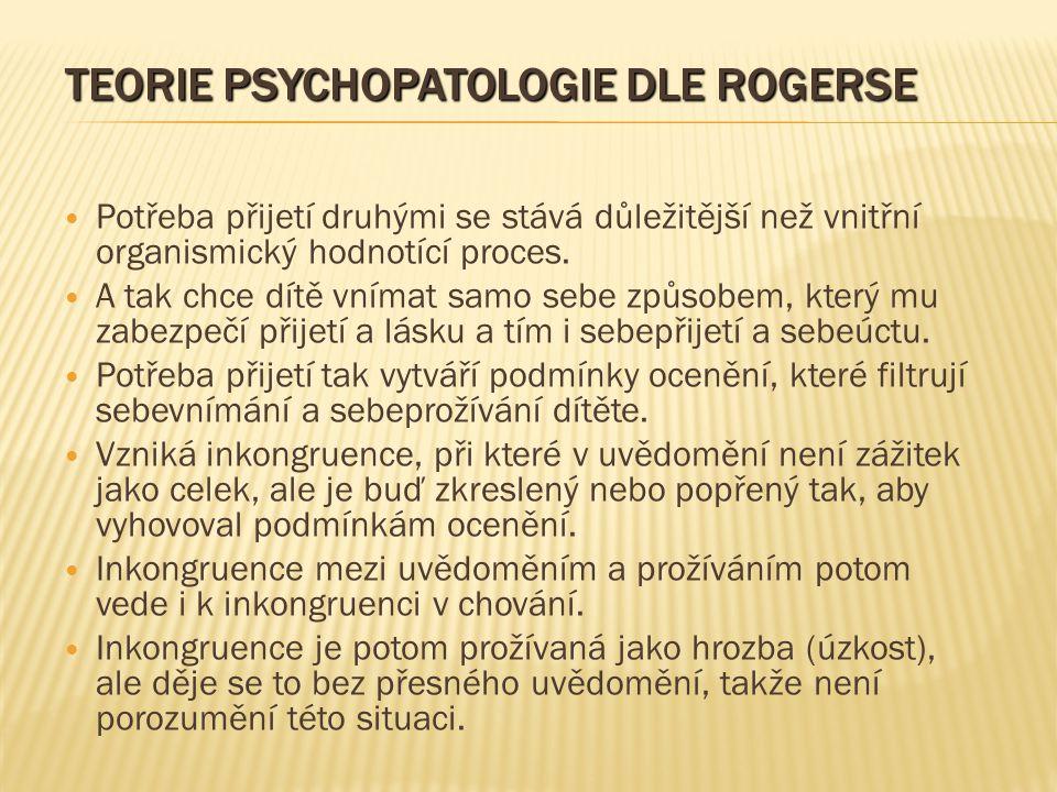 TEORIE PSYCHOPATOLOGIE DLE ROGERSE Potřeba přijetí druhými se stává důležitější než vnitřní organismický hodnotící proces.