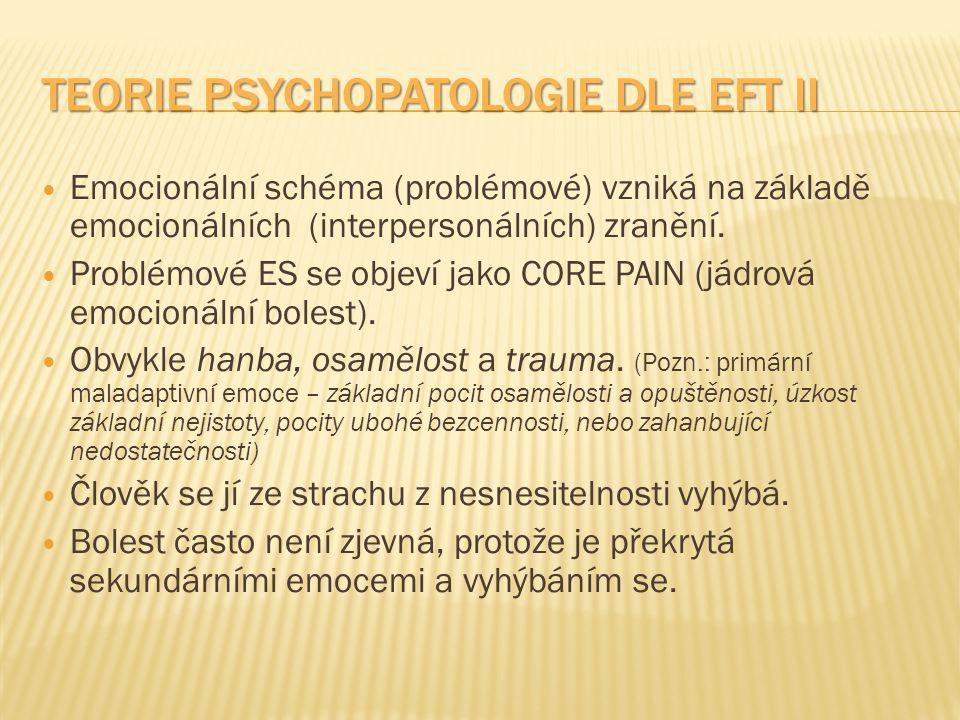 TEORIE PSYCHOPATOLOGIE DLE EFT II Emocionální schéma (problémové) vzniká na základě emocionálních (interpersonálních) zranění. Problémové ES se objeví