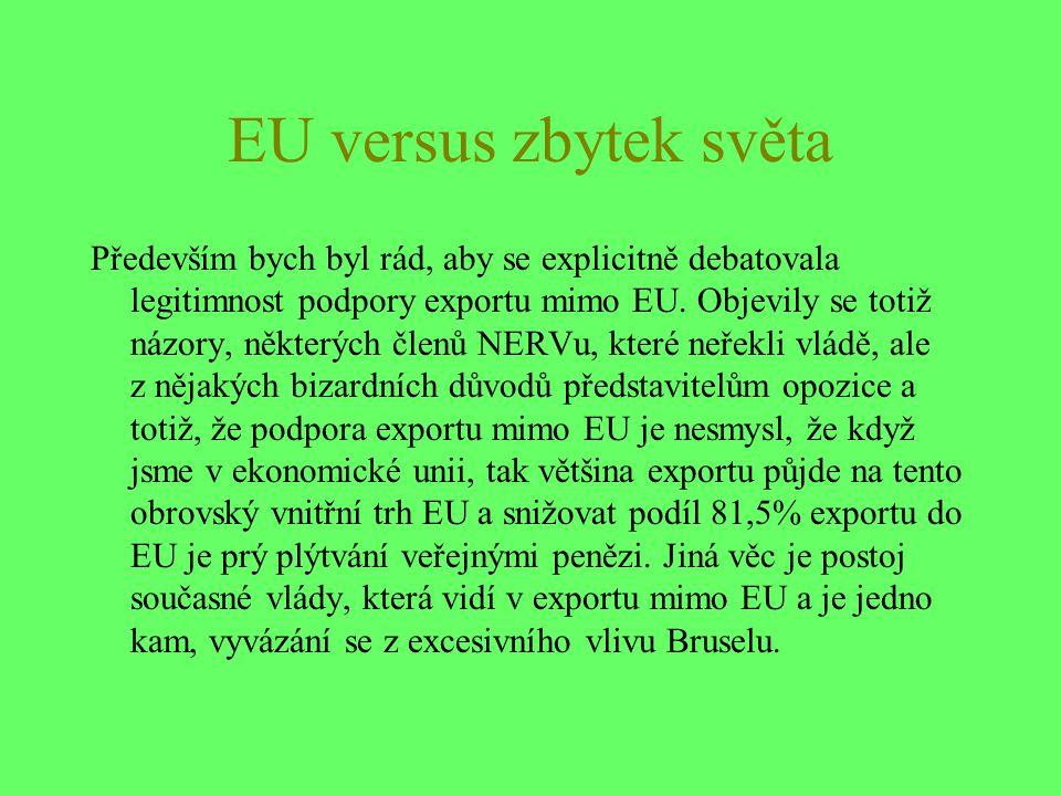 EU versus zbytek světa Především bych byl rád, aby se explicitně debatovala legitimnost podpory exportu mimo EU.