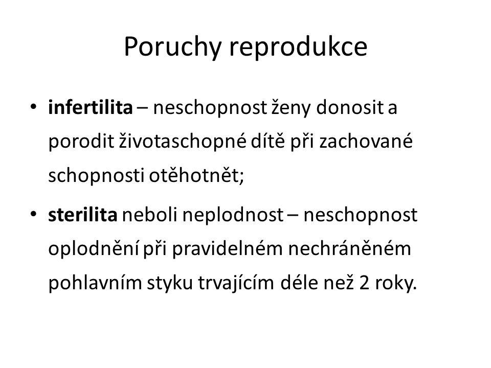 Příčiny poruch reprodukce U žen – neprůchodnost (obstrukce) vejcovodů, – porucha funkce dělohy, infekce, – hormonální poruchy, – psychické vlivy, – imunologická sterilita – v ženském organismu dochází k imunitní reakci proti spermiím.