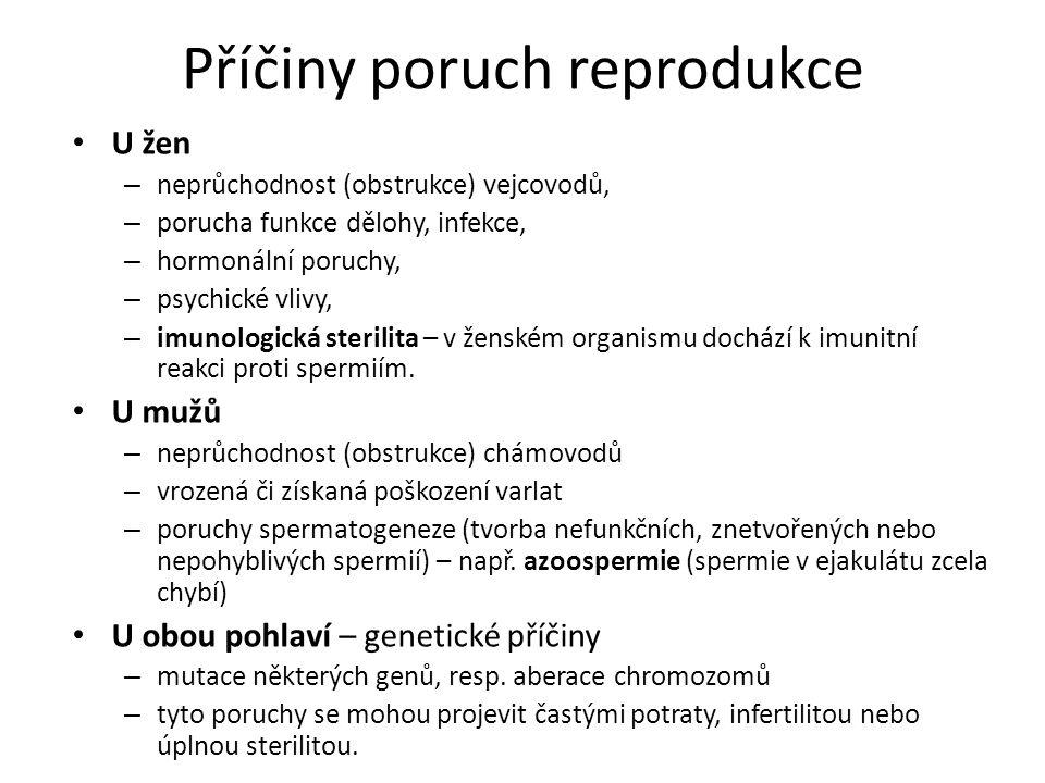 Příčiny poruch reprodukce U žen – neprůchodnost (obstrukce) vejcovodů, – porucha funkce dělohy, infekce, – hormonální poruchy, – psychické vlivy, – im