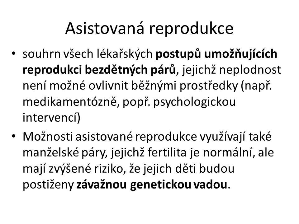 Asistovaná reprodukce souhrn všech lékařských postupů umožňujících reprodukci bezdětných párů, jejichž neplodnost není možné ovlivnit běžnými prostředky (např.