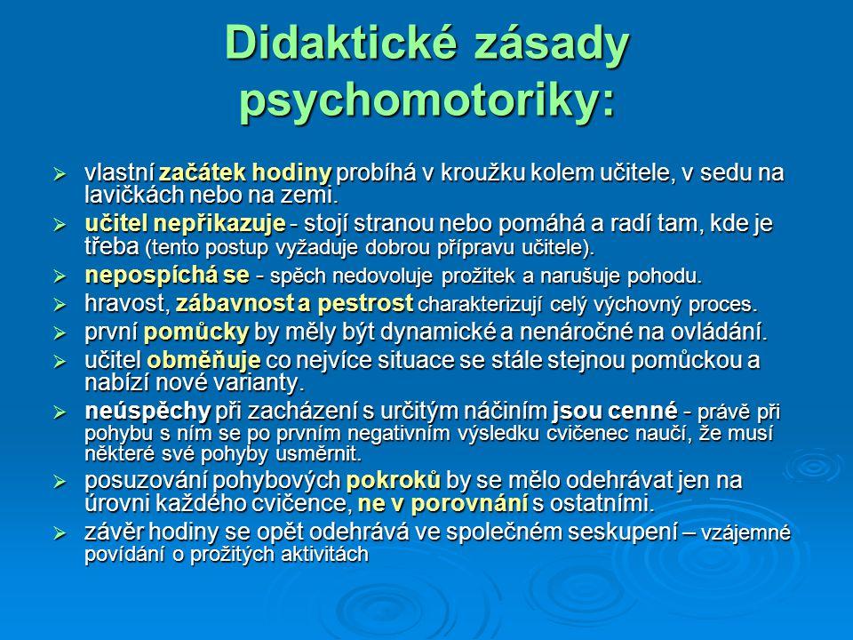 Didaktické zásady psychomotoriky:  vlastní začátek hodiny probíhá v kroužku kolem učitele, v sedu na lavičkách nebo na zemi.  učitel nepřikazuje - s