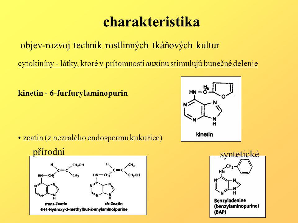 charakteristika cytokiníny - látky, ktoré v prítomnosti auxínu stimulujú bunečné delenie kinetin - 6-furfurylaminopurin zeatin (z nezralého endospermu kukuřice) přírodní syntetické objev-rozvoj technik rostlinných tkáňových kultur