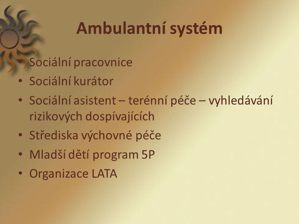 Ambulantní systém Sociální pracovnice Sociální kurátor Sociální asistent – terénní péče – vyhledávání rizikových dospívajících Střediska výchovné péče Mladší dětí program 5P Organizace LATA