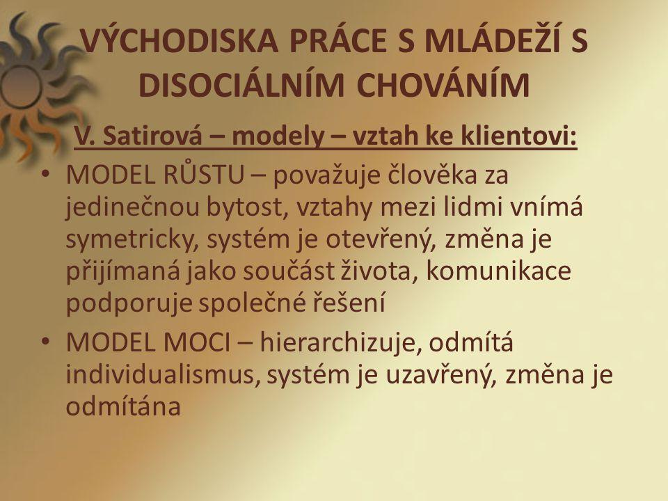 VÝCHODISKA PRÁCE S MLÁDEŽÍ S DISOCIÁLNÍM CHOVÁNÍM V.