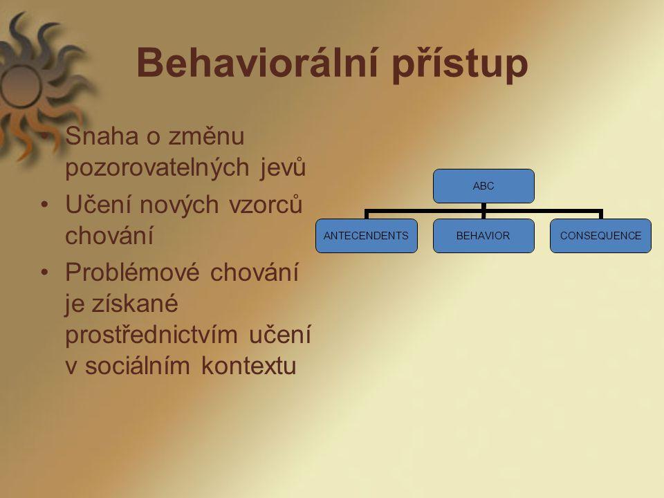 Behaviorální přístup Snaha o změnu pozorovatelných jevů Učení nových vzorců chování Problémové chování je získané prostřednictvím učení v sociálním kontextu ABC ANTECENDENTSBEHAVIORCONSEQUENCE