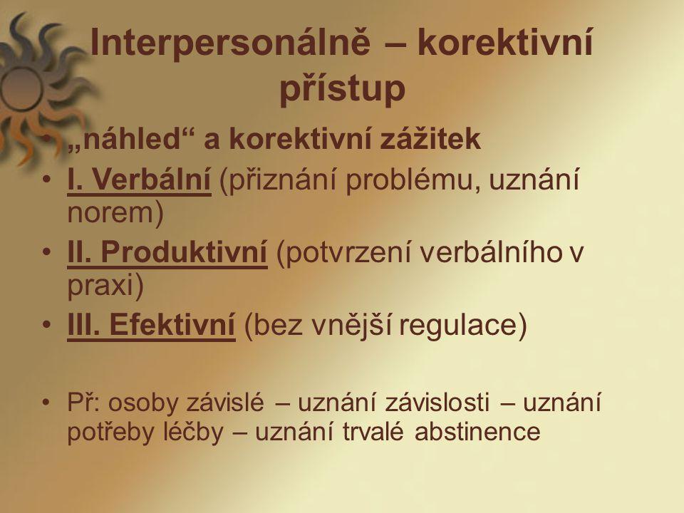 """Interpersonálně – korektivní přístup """"náhled a korektivní zážitek I."""