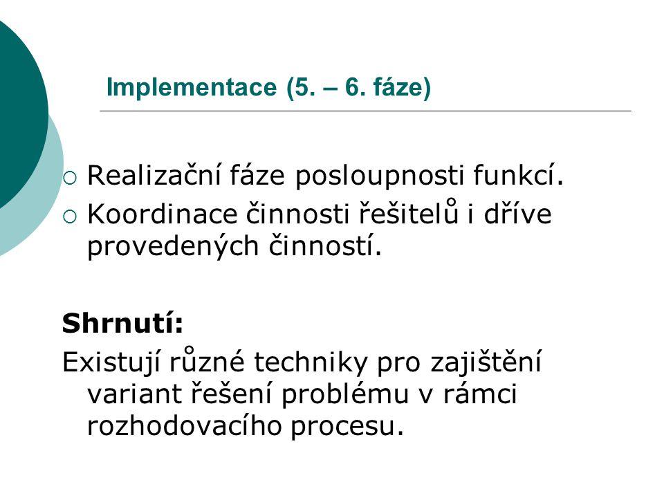 Implementace (5. – 6. fáze)  Realizační fáze posloupnosti funkcí.  Koordinace činnosti řešitelů i dříve provedených činností. Shrnutí: Existují různ