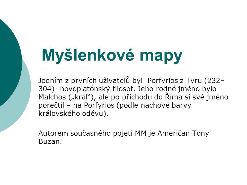 """Myšlenkové mapy Jedním z prvních uživatelů byl Porfyrios z Tyru (232– 304) -novoplatónský filosof. Jeho rodné jméno bylo Malchos (""""král""""), ale po příc"""