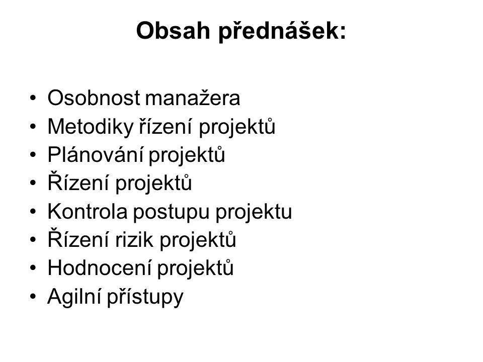 Obsah přednášek: Osobnost manažera Metodiky řízení projektů Plánování projektů Řízení projektů Kontrola postupu projektu Řízení rizik projektů Hodnoce
