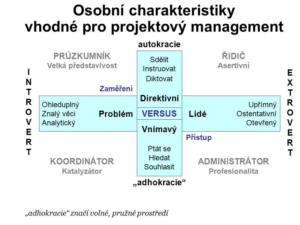 """Osobní charakteristiky vhodné pro projektový management """"adhokracie"""" značí volné, pružné prostředí Ohleduplný Znalý věci Analytický Sdělit Instruovat"""