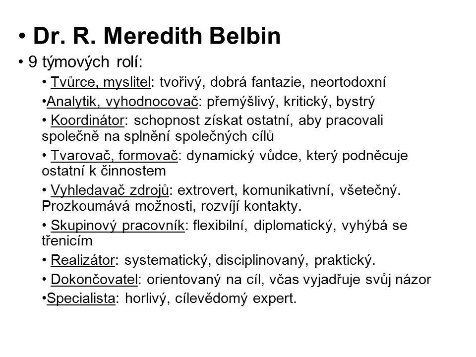 Dr. R. Meredith Belbin 9 týmových rolí: Tvůrce, myslitel: tvořivý, dobrá fantazie, neortodoxní Analytik, vyhodnocovač: přemýšlivý, kritický, bystrý Ko