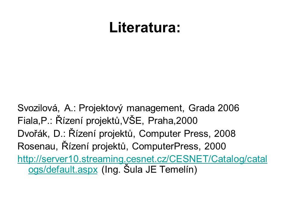Literatura: Svozilová, A.: Projektový management, Grada 2006 Fiala,P.: Řízení projektů,VŠE, Praha,2000 Dvořák, D.: Řízení projektů, Computer Press, 20