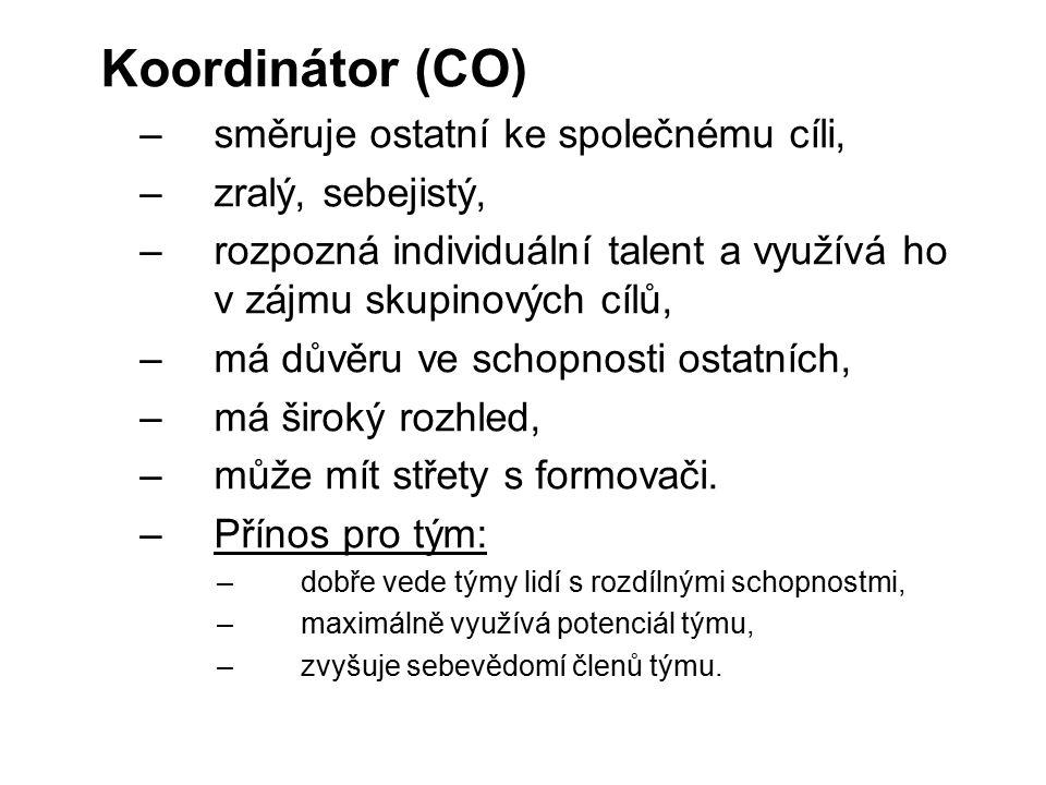 Koordinátor (CO) –směruje ostatní ke společnému cíli, –zralý, sebejistý, –rozpozná individuální talent a využívá ho v zájmu skupinových cílů, –má důvě