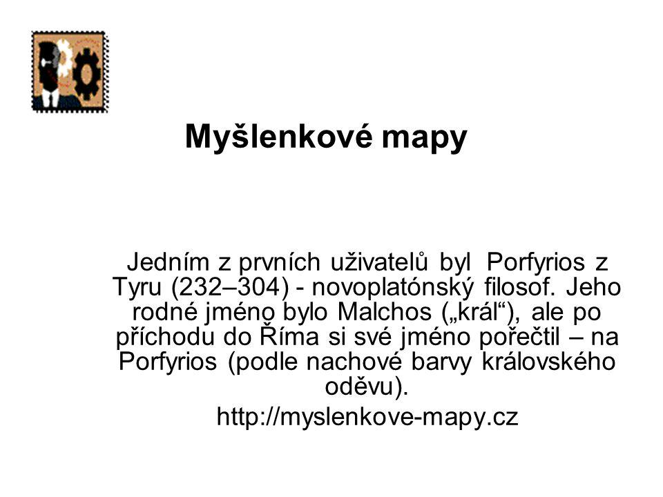 """Myšlenkové mapy Jedním z prvních uživatelů byl Porfyrios z Tyru (232–304) - novoplatónský filosof. Jeho rodné jméno bylo Malchos (""""král""""), ale po příc"""