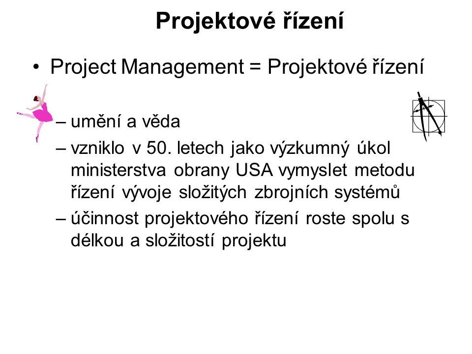 Projektové řízení Project Management = Projektové řízení –umění a věda –vzniklo v 50. letech jako výzkumný úkol ministerstva obrany USA vymyslet metod