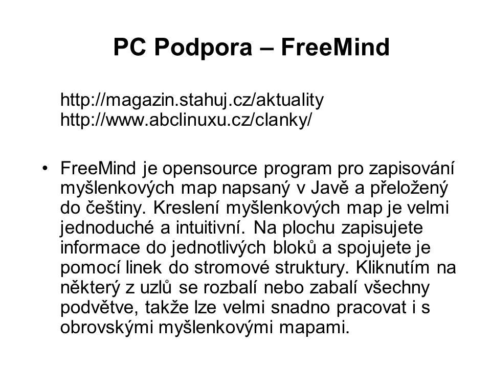 PC Podpora – FreeMind http://magazin.stahuj.cz/aktuality http://www.abclinuxu.cz/clanky/ FreeMind je opensource program pro zapisování myšlenkových ma