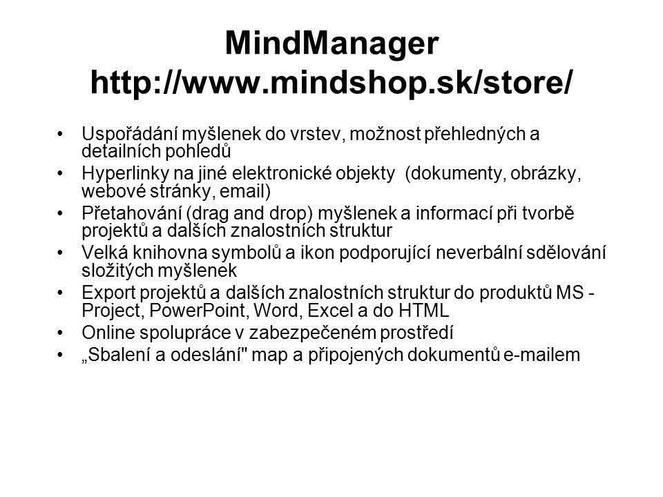 MindManager http://www.mindshop.sk/store/ Uspořádání myšlenek do vrstev, možnost přehledných a detailních pohledů Hyperlinky na jiné elektronické obje