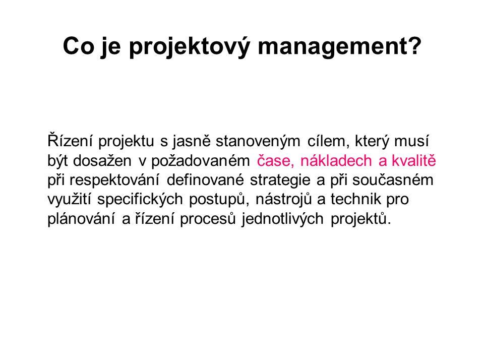 Co je projektový management? Řízení projektu s jasně stanoveným cílem, který musí být dosažen v požadovaném čase, nákladech a kvalitě při respektování