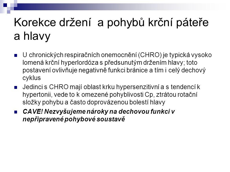 Korekce držení a pohybů krční páteře a hlavy U chronických respiračních onemocnění (CHRO) je typická vysoko lomená krční hyperlordóza s předsunutým dr