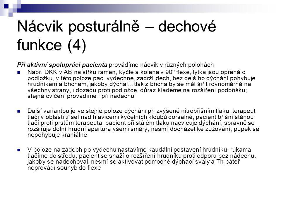 Nácvik posturálně – dechové funkce (4) Při aktivní spolupráci pacienta provádíme nácvik v různých polohách Např. DKK v AB na šířku ramen, kyčle a kole