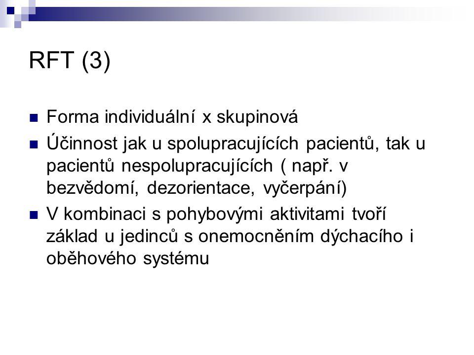 RFT (3) Forma individuální x skupinová Účinnost jak u spolupracujících pacientů, tak u pacientů nespolupracujících ( např. v bezvědomí, dezorientace,