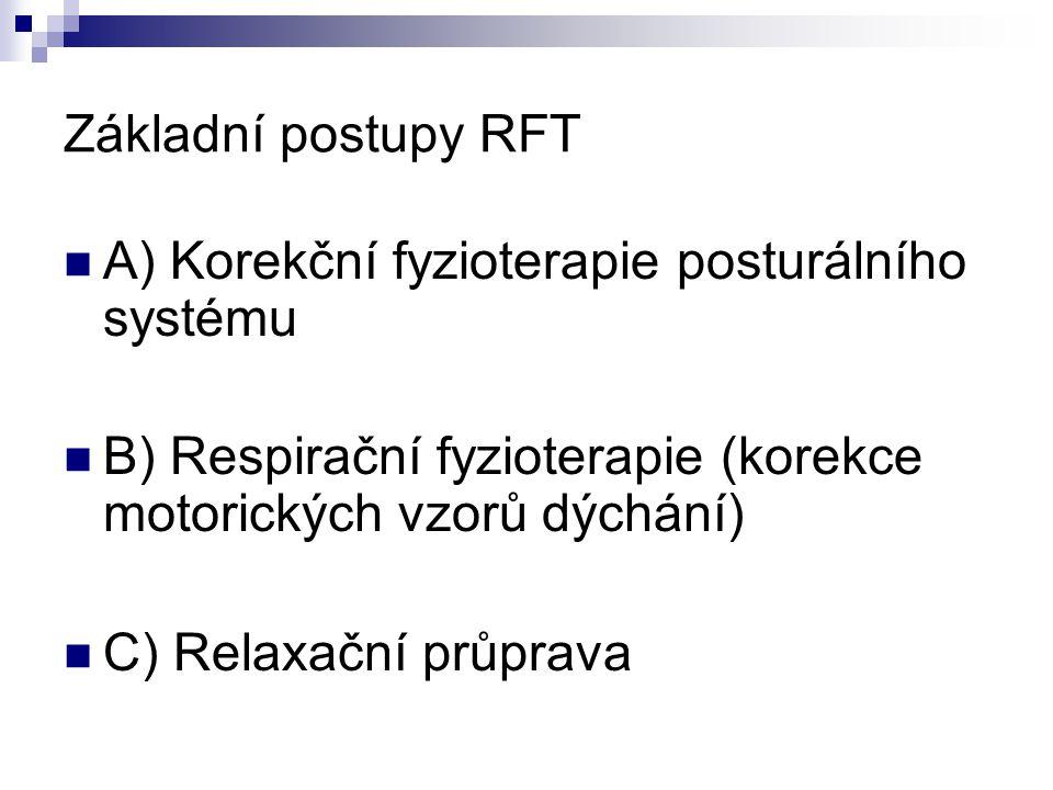 Základní postupy RFT A) Korekční fyzioterapie posturálního systému B) Respirační fyzioterapie (korekce motorických vzorů dýchání) C) Relaxační průprav
