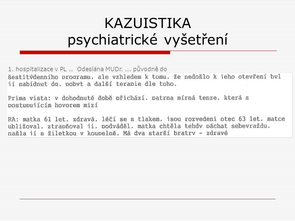 KAZUISTIKA psychiatrické vyšetření 1. hospitalizace v PL.. Odeslána MUDr.... původně do