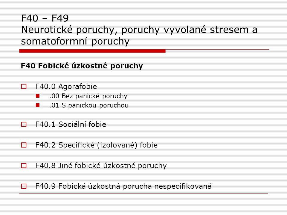 F40 – F49 Neurotické poruchy, poruchy vyvolané stresem a somatoformní poruchy F40 Fobické úzkostné poruchy  F40.0 Agorafobie.00 Bez panické poruchy.0