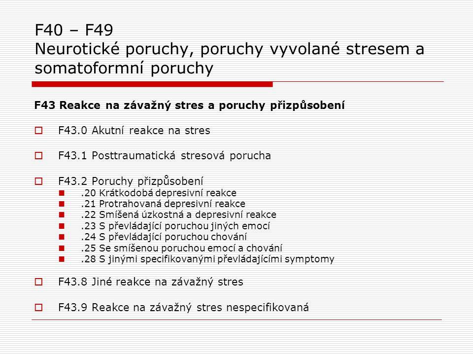 F40 – F49 Neurotické poruchy, poruchy vyvolané stresem a somatoformní poruchy F43 Reakce na závažný stres a poruchy přizpůsobení  F43.0 Akutní reakce