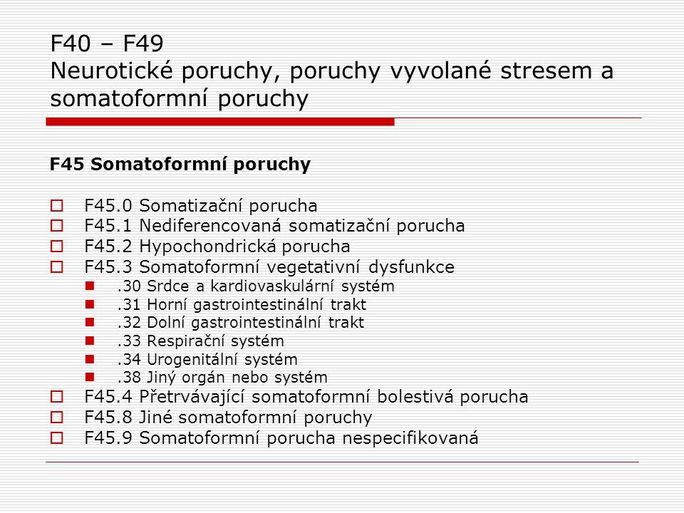 F40 – F49 Neurotické poruchy, poruchy vyvolané stresem a somatoformní poruchy F45 Somatoformní poruchy  F45.0 Somatizační porucha  F45.1 Nediferenco