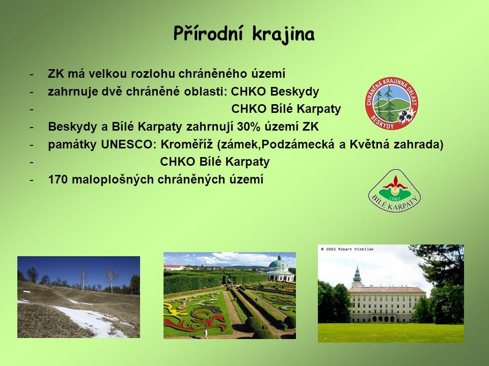 Přírodní krajina -ZK má velkou rozlohu chráněného území -zahrnuje dvě chráněné oblasti: CHKO Beskydy - CHKO Bílé Karpaty -Beskydy a Bílé Karpaty zahrn