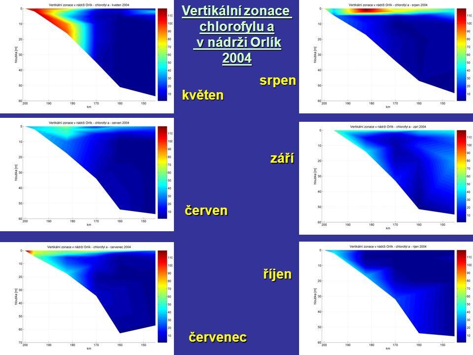 Vertikální zonace chlorofylu a v nádrži Orlík 2004květen červen červenec září srpen říjen