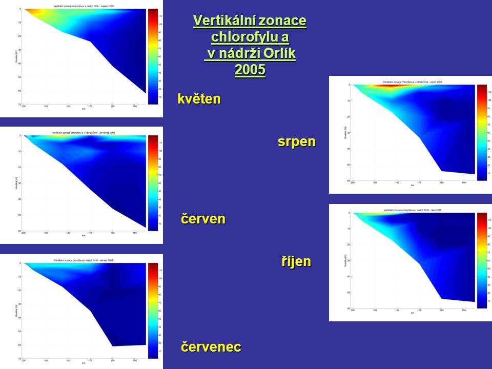 Vertikální zonace chlorofylu a v nádrži Orlík 2005 květen červen červenec srpen říjen