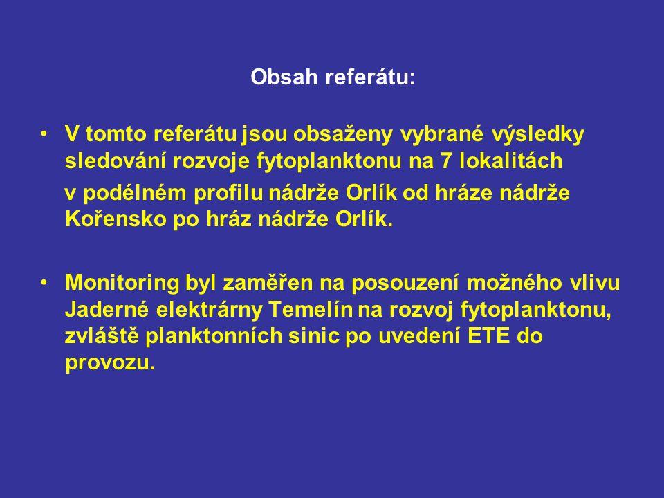 Monitoring byl prováděn v rámci výzkumného úkolu VÚV TGM, pobočka Brno, jehož cílem bylo zjistit, jaký vliv má jaderná elektrárna Temelín (ETE) po svém uvedení do provozu na teplotu, jakost vody a planktonní společenstva ve Vltavě a zda se případné změny mohou projevovat v nádrži Orlík, která leží bezprostředně pod elektrárnou.