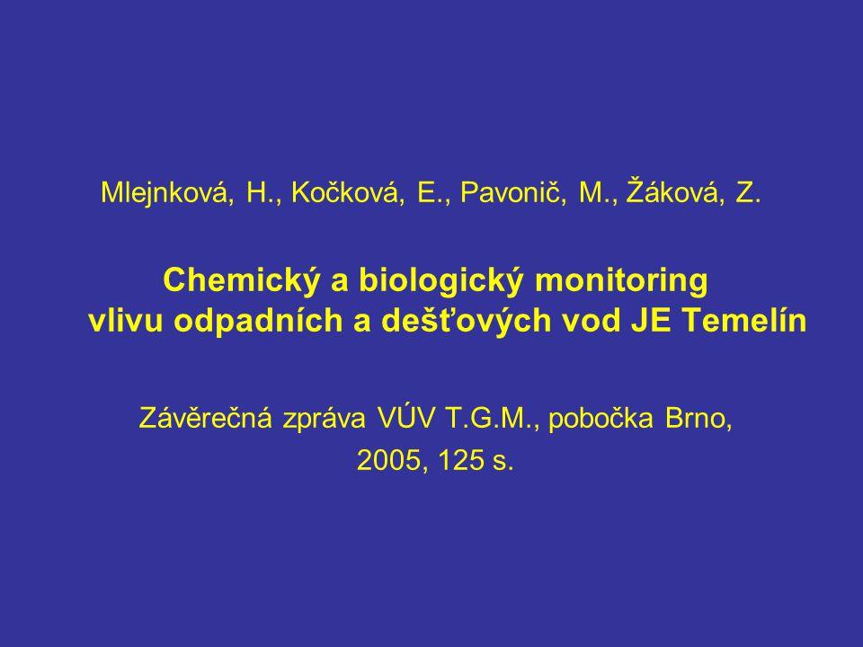 Mlejnková, H., Kočková, E., Pavonič, M., Žáková, Z. Chemický a biologický monitoring vlivu odpadních a dešťových vod JE Temelín Závěrečná zpráva VÚV T