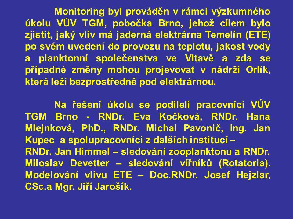 Monitoring byl prováděn v rámci výzkumného úkolu VÚV TGM, pobočka Brno, jehož cílem bylo zjistit, jaký vliv má jaderná elektrárna Temelín (ETE) po své