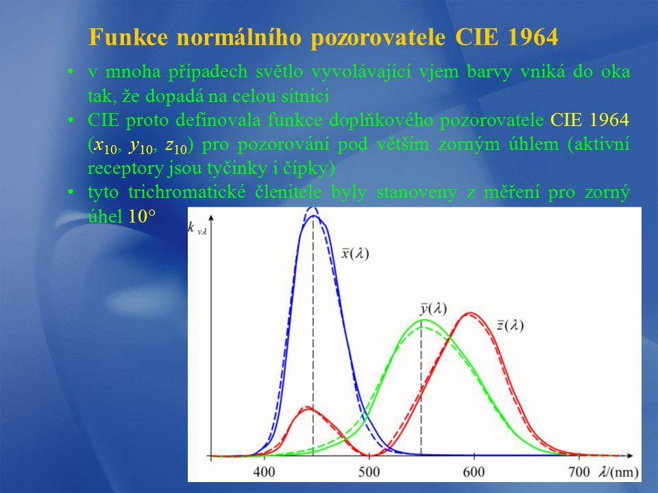 Funkce normálního pozorovatele CIE 1964 v mnoha případech světlo vyvolávající vjem barvy vniká do oka tak, že dopadá na celou sítnici CIE proto defino