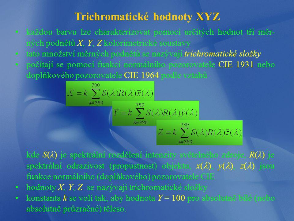 Trichromatické hodnoty XYZ každou barvu lze charakterizovat pomocí určitých hodnot tří měr- ných podnětů X, Y, Z kolorimetrické soustavy tato množství