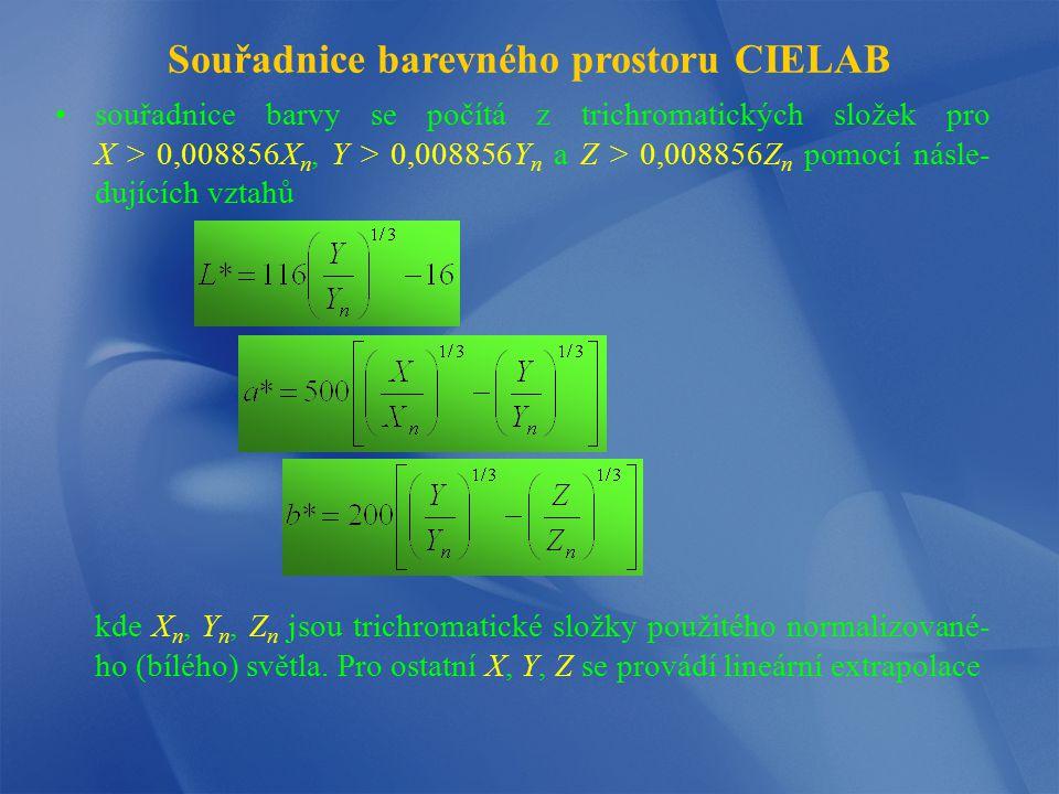 Souřadnice barevného prostoru CIELAB souřadnice barvy se počítá z trichromatických složek pro X > 0,008856X n, Y > 0,008856Y n a Z > 0,008856Z n pomoc