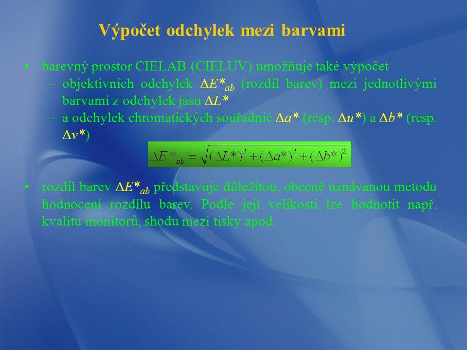 Výpočet odchylek mezi barvami barevný prostor CIELAB (CIELUV) umožňuje také výpočet –objektivních odchylek ΔE* ab (rozdíl barev) mezi jednotlivými bar