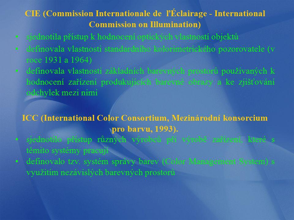 CIE (Commission Internationale de ľÉclairage - International Commission on Illumination) sjednotila přístup k hodnocení optických vlastností objektů d