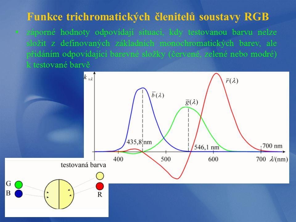 Trichromatické hodnoty RGB trichromatické hodnoty R, G, B (tristimulus values) mohou být urče- ny podle následujících vztahů kde S(λ) je spektrální rozdělení intenzity světelného zdroje, R(λ) je spektrální odrazivost (propustnost) objektu, r( ), g( ), b( ) jsou funkce trichromatických členitelů (color- matching functions pro jiné zvolené vlnové délky primárních barev budou zjištěné funkce r( ), g( ), b( ) odlišné, lze je určit jako lineární kombinaci uvedených spektrálních funkcí