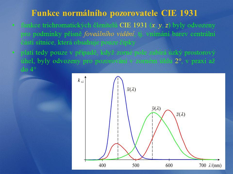 Funkce normálního pozorovatele CIE 1964 v mnoha případech světlo vyvolávající vjem barvy vniká do oka tak, že dopadá na celou sítnici CIE proto definovala funkce doplňkového pozorovatele CIE 1964 (x 10, y 10, z 10 ) pro pozorování pod větším zorným úhlem (aktivní receptory jsou tyčinky i čípky) tyto trichromatické členitele byly stanoveny z měření pro zorný úhel 10°