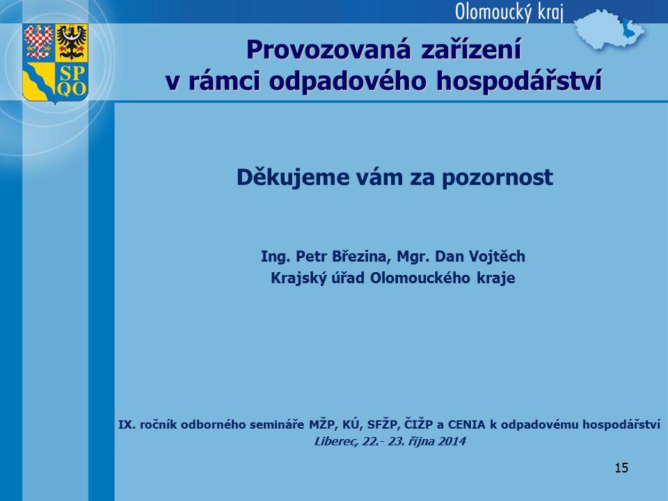 15 Provozovaná zařízení v rámci odpadového hospodářství IX. ročník odborného semináře MŽP, KÚ, SFŽP, ČIŽP a CENIA k odpadovému hospodářství Liberec, 2