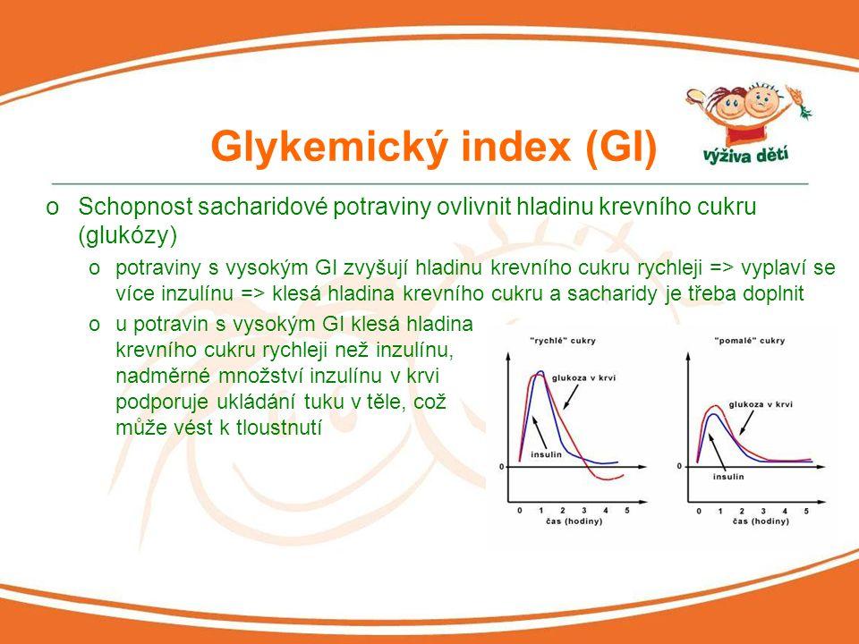 Faktory ovlivňující GI o Kombinace s dalšími potravinami obílkoviny a tuky snižují GI sacharidových potravin o Druh škrobu převládající v potravině oamylóza GI snižuje, amylopektin zvyšuje o Vláknina ocelozrnné potraviny mají nižší GI, než potraviny z bílé mouky o Způsob zpracování potravin očím je potravina pevnější, tím nižší GI onapř.