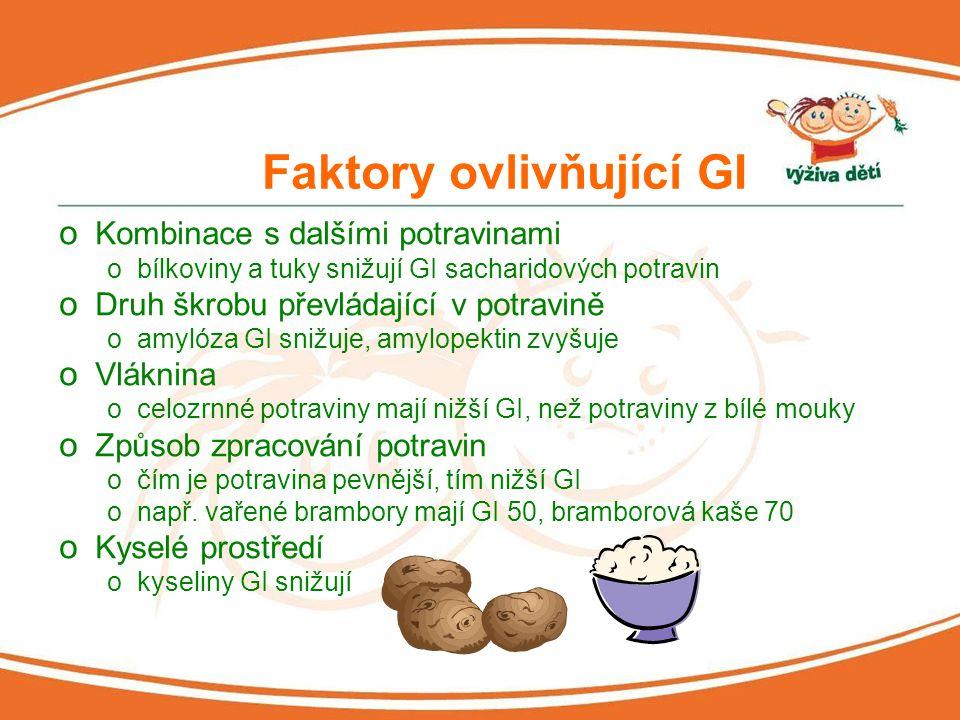 Glykemická nálož o Celková změna glykémie v krvi po jídle o Bere v potaz celkové množství sacharidů v potravě + glykemický index opříklad 100 gramů špaget obsahuje 76 g sacharidů 1 porce (150 g) má tedy 114 g sacharidů 114 * (55/100) = 63 => velmi vysoká glykemická nálož o Tři základ stupně glykemické nálože onízká: 10 a méně ostřední:11-19 ovysoká:20 a více