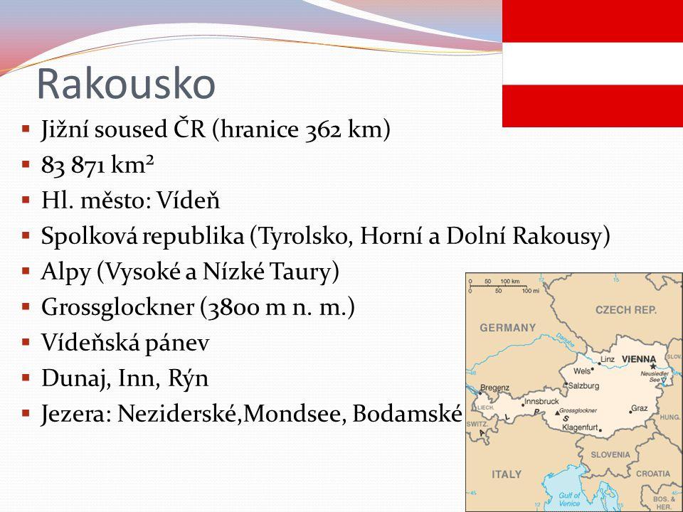 Rakousko  Jižní soused ČR (hranice 362 km)  83 871 km²  Hl.